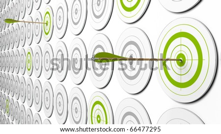 two arrows hitting the center of green targets. there is some grey targets around. this is a 3d image with perspective - stock photo
