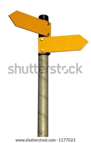 Two arrows on a pole pointing in different directions, isolated on white (clipping path included) - stock photo