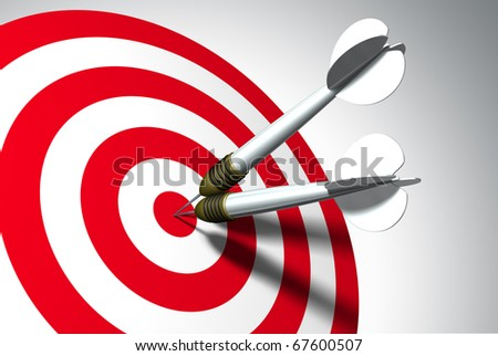 Two arrows on red target - business concept