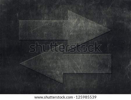 Two arrows pointing in opposite directions, grunge background - stock ...