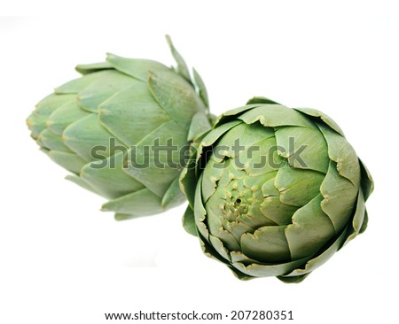 two artichokes isolated on white background  - stock photo