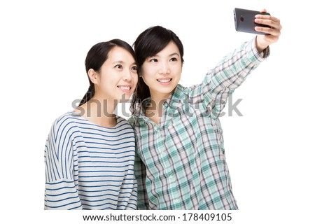 Two asia woman selfie - stock photo