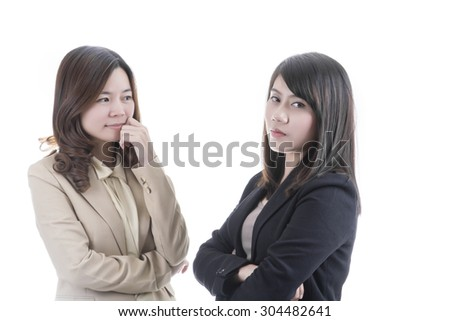 Two asian business in office on white background