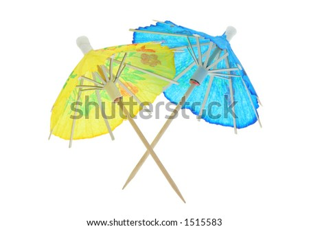 two asian cocktail umbrellas - pure white background