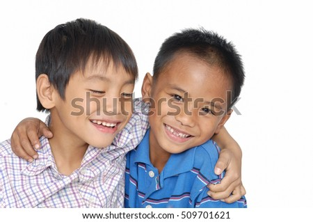 Two asian happy boys