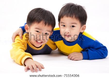 Two asian happy boys - stock photo