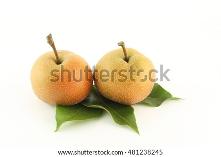 Two Asian pear on white background