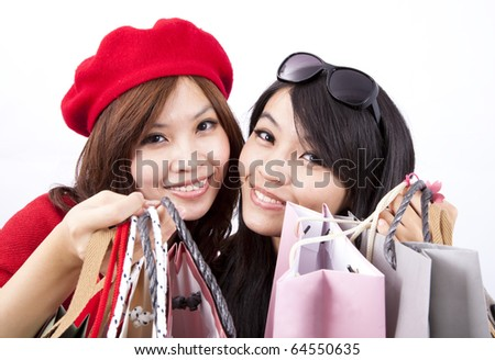 two asian shopping girl isolated on white background - stock photo