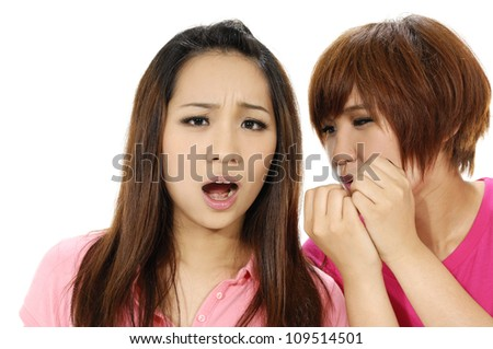 Two Asian sisters isolated - stock photo