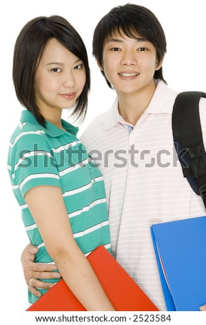 Two asian students with ring binders on white background