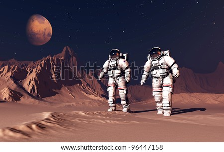 Two astranavta on the planet. - stock photo