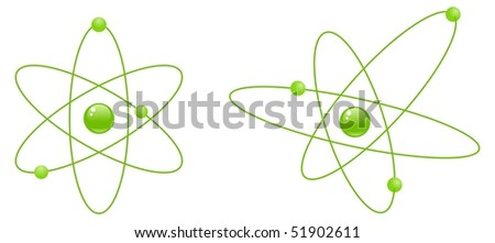 Two atom models, isolated on a white background. - stock photo
