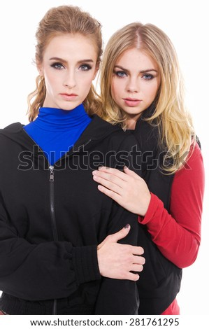 Two attractive blond girl friends