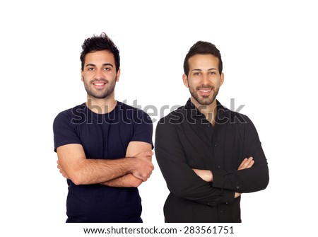 Two attractive boys in black isolated on white background - stock photo