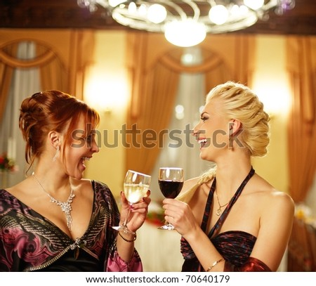 Two attractive lady on a party
