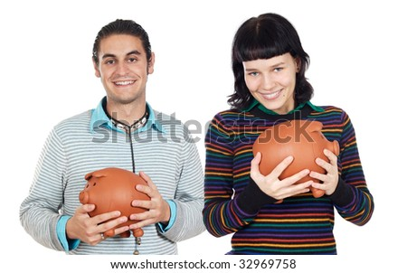 Two attractive teenagers with money box on a over white background - stock photo