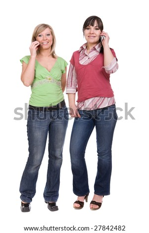 two attractive women with mobile phones