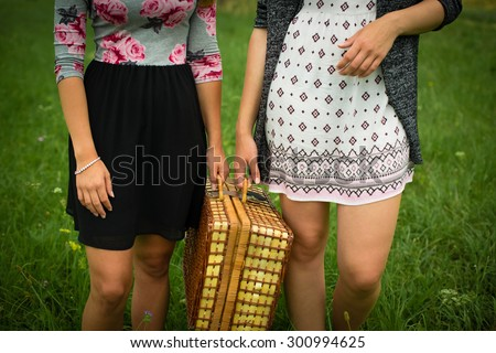 Two attractive young girls are getting ready for a picnic, carrying a picnic case - stock photo