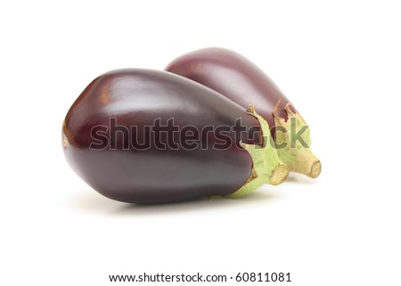 Two aubergines isolated. - stock photo