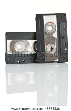 two audio cassette isolated on white background with clipping path