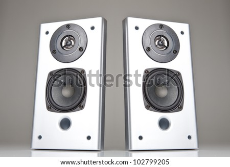 Two audio speakers - stock photo