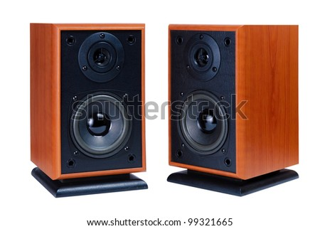 Two audio speakers in wooden case isolated on white background, musical equipment - stock photo