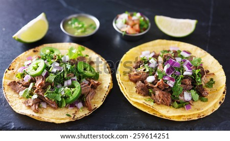 two authentic mexican tacos with barbacoa and carnitas - stock photo