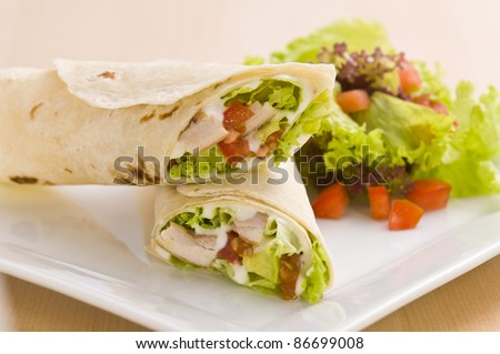 Two avocado wrap with a healthy side salad decorated - stock photo