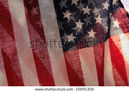 two backlit American flags - stock photo