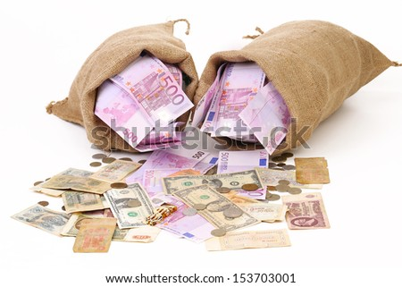 Two bags with much money. Isolated - stock photo