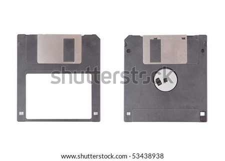 Two balck floppy disks isolated on white background - stock photo