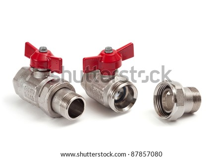two ball valve is isolated on a white background
