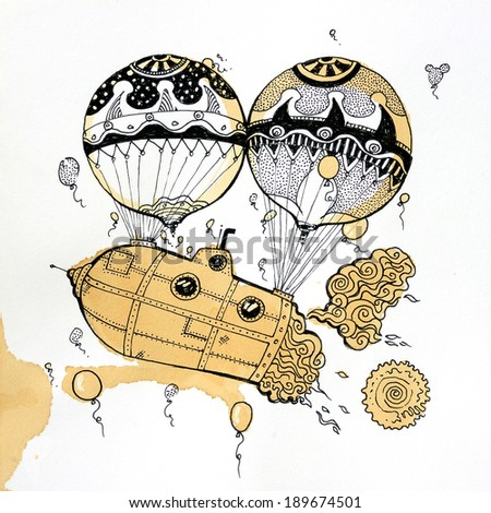 two balloons transporting a vehicle/balloon transport/scan - stock photo