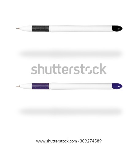 Two ballpoint pens - black and dark blue - isolated on white background - stock photo