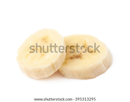Two banana slices, composition isolated over the white background - stock photo