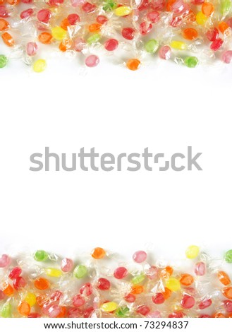 Two bands of assorted colorful candies in plastic wraps