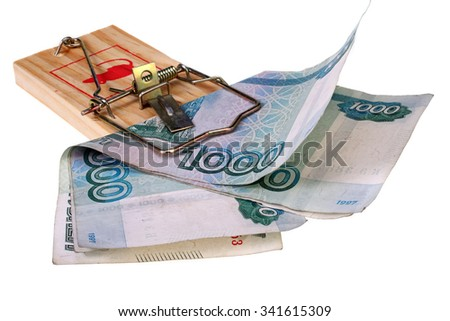 two banknotes one thousand rubles in a mousetrap isolated on white with Clipping Path - stock photo