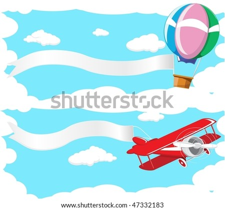 Two banner depicting a flying balloon and aircraft against the blue sky.Done in retro style - stock photo