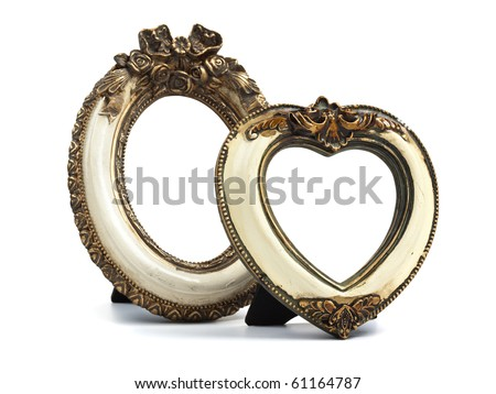 two baroque style desktop picture frames oval shape and heart shaped paths included to