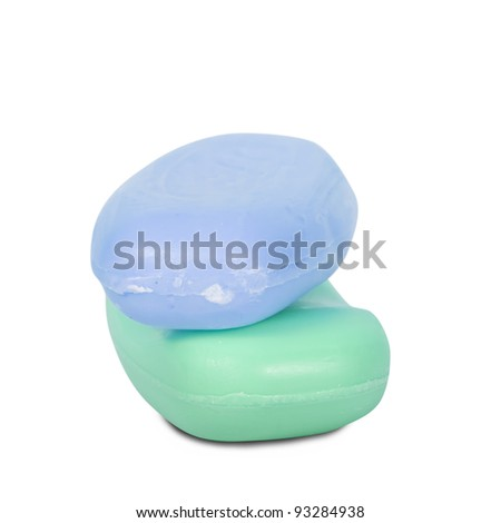 Two bars of soap on a white background