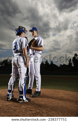 Two Baseball Players During Game - stock photo