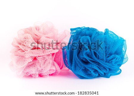 Two bath sponges - stock photo