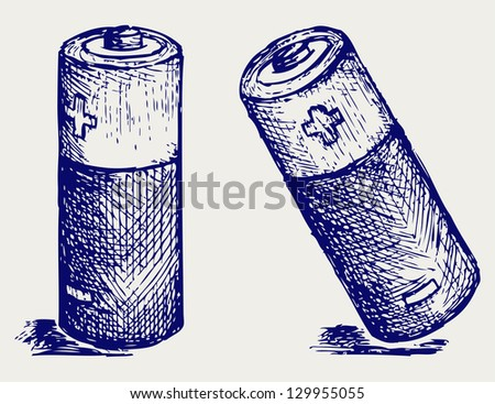 Two batteries. Doodle style. Raster version - stock photo