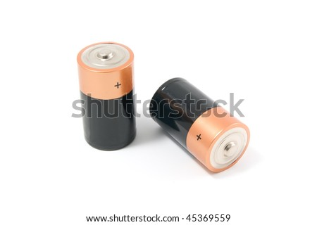 Two batteries isolated on white background. - stock photo