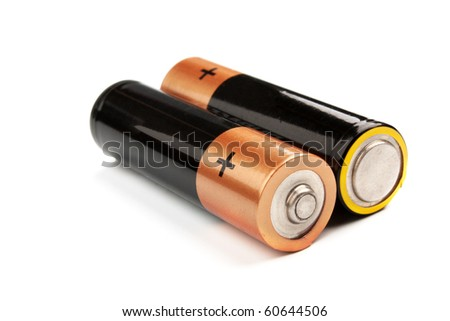 Two batteries on a white background it is isolated - stock photo
