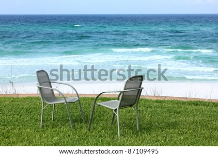 Two Beach Chairs with Ocean View - stock photo