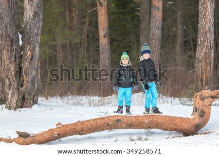 Two beautiful and cheerful brothers playing in the winter woods. - stock photo