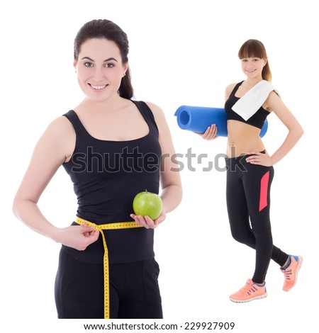 two beautiful and slim sporty women isolated on white background - stock photo