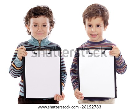 Two beautiful boys student with notepad (you can put your text) - stock photo