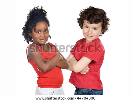 Two beautiful children of different races isolated on a over white background - stock photo
